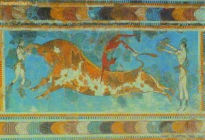 Тавромахия, фреска из Кносского дворца, 1500 г. до н.э.