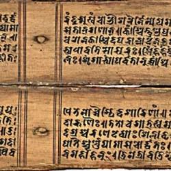 """Текст шактийского текста """"Деви-махатмья"""" на пальмовых листьях, Непал, XI в."""