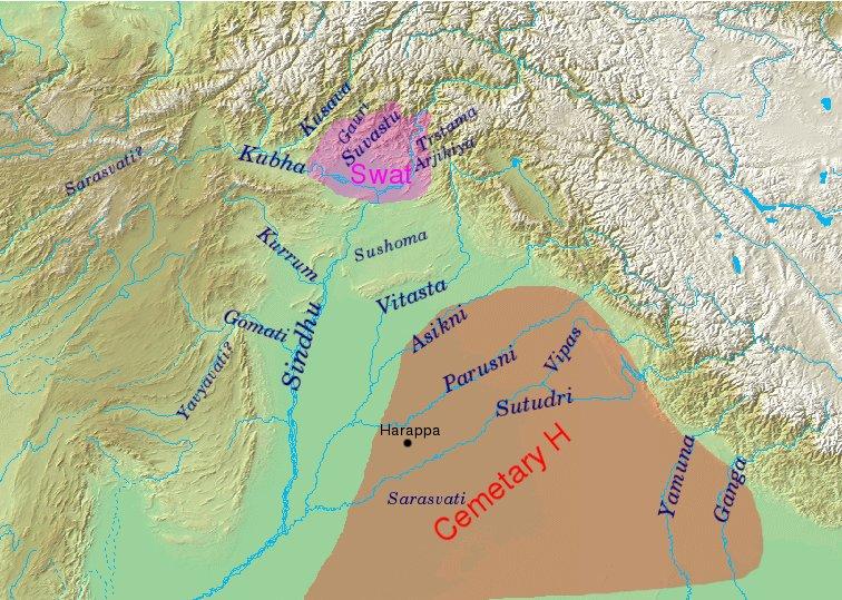 География Ригведы, с указанием названий рек