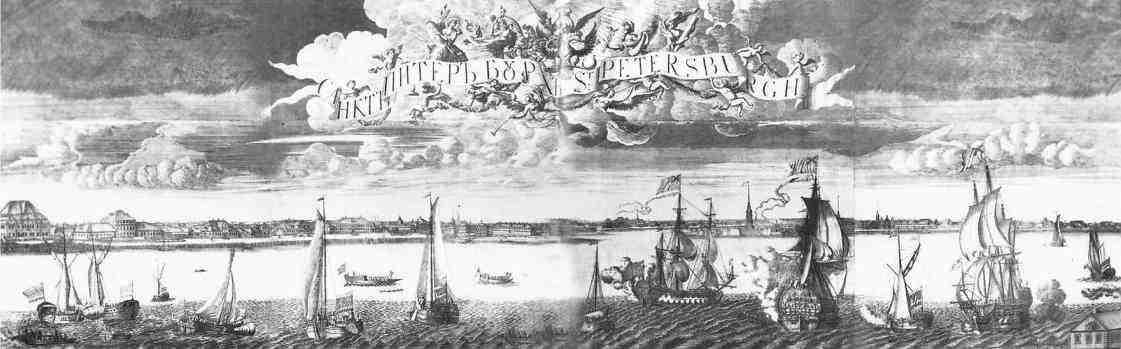 Панорама Санкт-Петербурга, 1716 г., гравюра А.Ф.Зубова