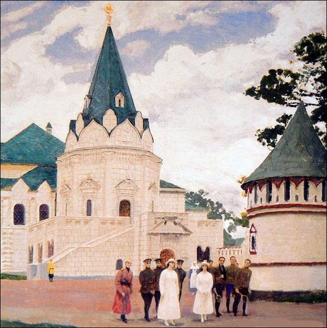 Великие княжны Мария Николаевна и Анастасия Николаевна с выздоравливающими ранеными в Федоровском городке