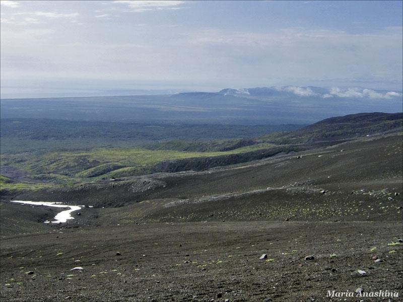 Вид на побережье Тихого океана, Козельский вулкан, Камчатка