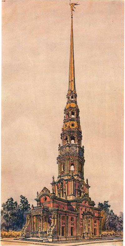 Реконструкция первоначального вида Меншиковой башни