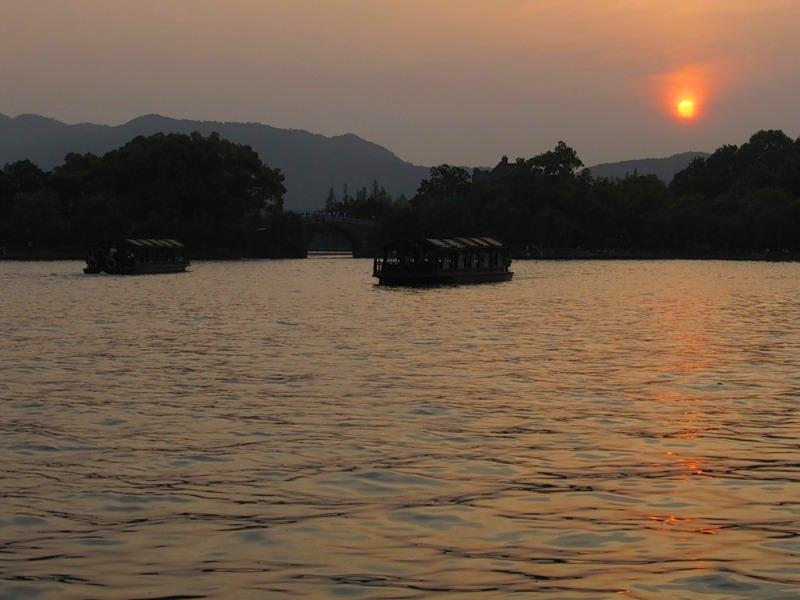 озеро Сиху, Ханчжоу, закат