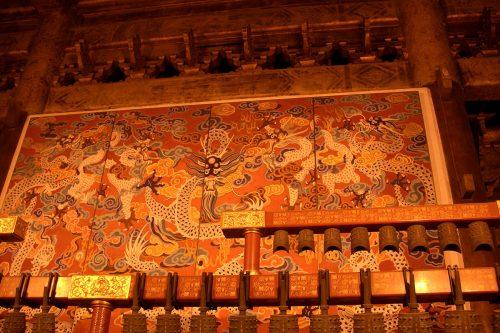 Панно с изображением драконов в бывшем Храме императорских предков Тай мяо 太庙 в Пекине