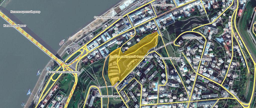 Откос на набережной Федоровского на карте
