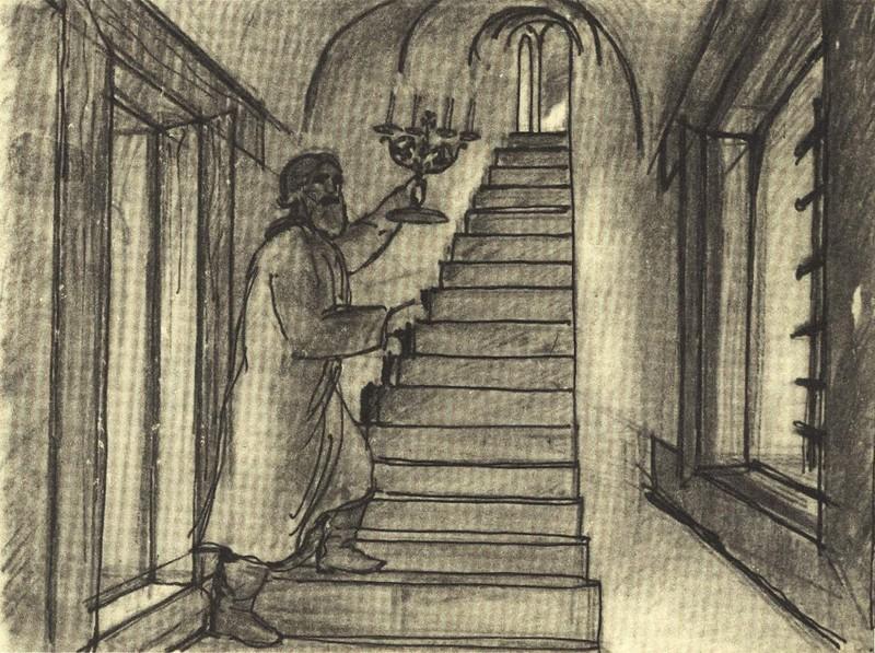 Внутристенная лестница в старой части дома Печенко