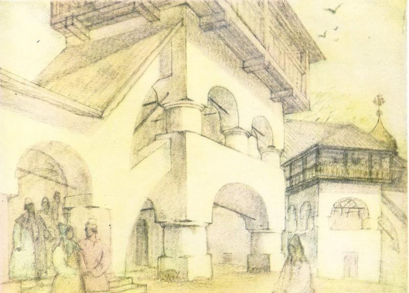 Крыльцо палат во дворе на Полонище