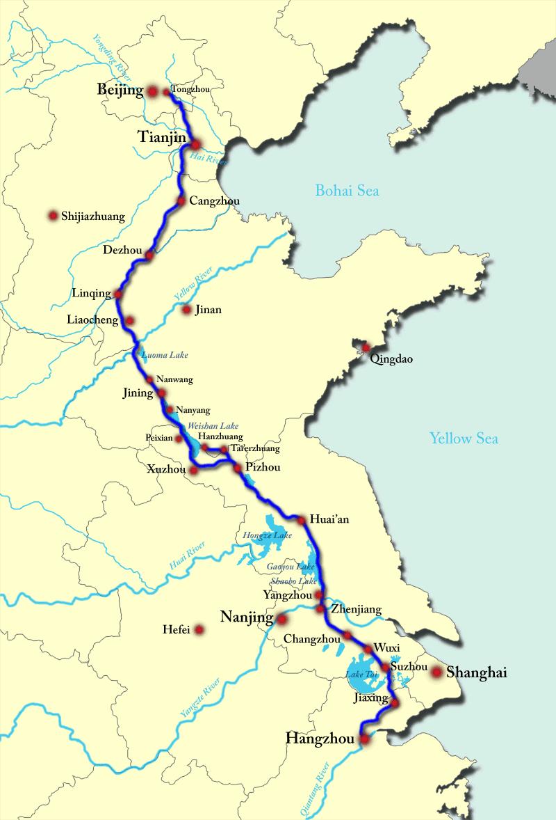 Карта Великого китайского канала