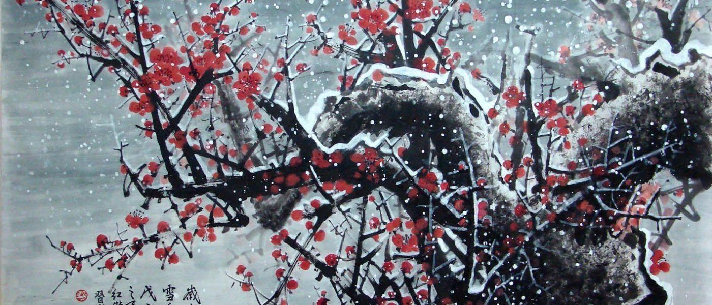 Слива мэйхуа — нежные цветы под снегом и дождем