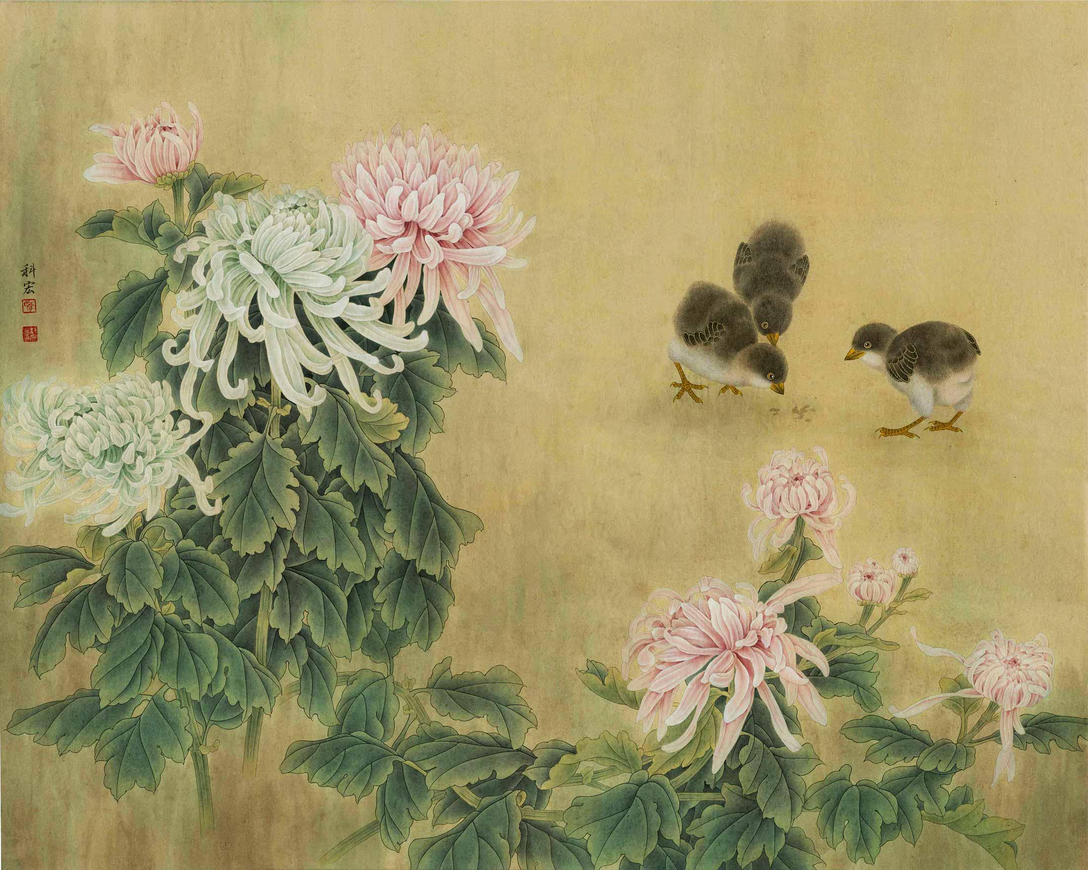 Хризантемы и птенцы