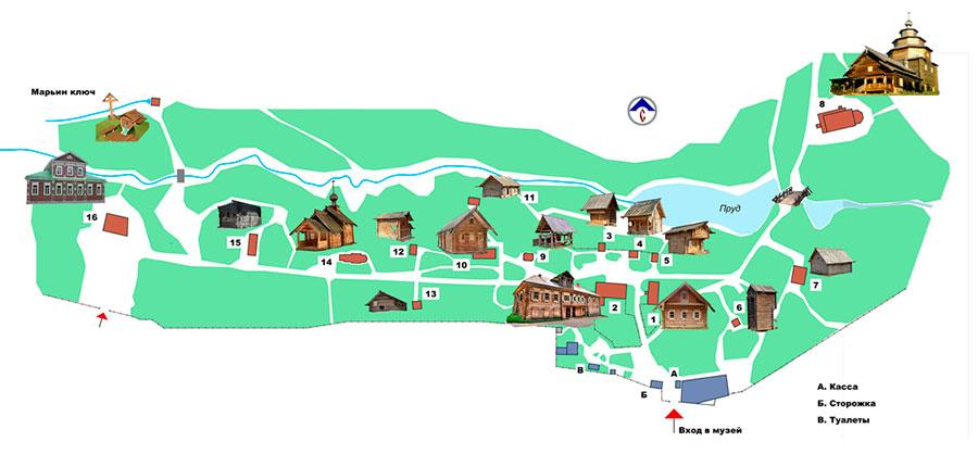 Щелоковский хутор, карта достопримечательностей