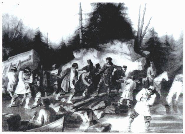 В.И.Суриков. Пётр Великий перетаскивает суда из Онежского залива в Онежское озеро для завоевания крепости Нотебург у шведов