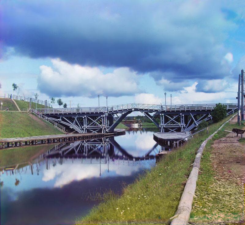Подъемный мост на реке Вытегра, старое фото