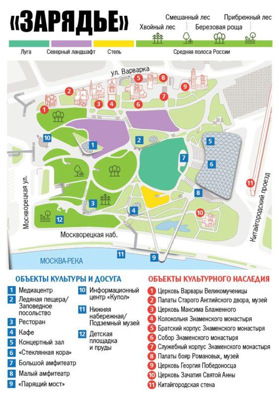 Схема парка «Зарядье»