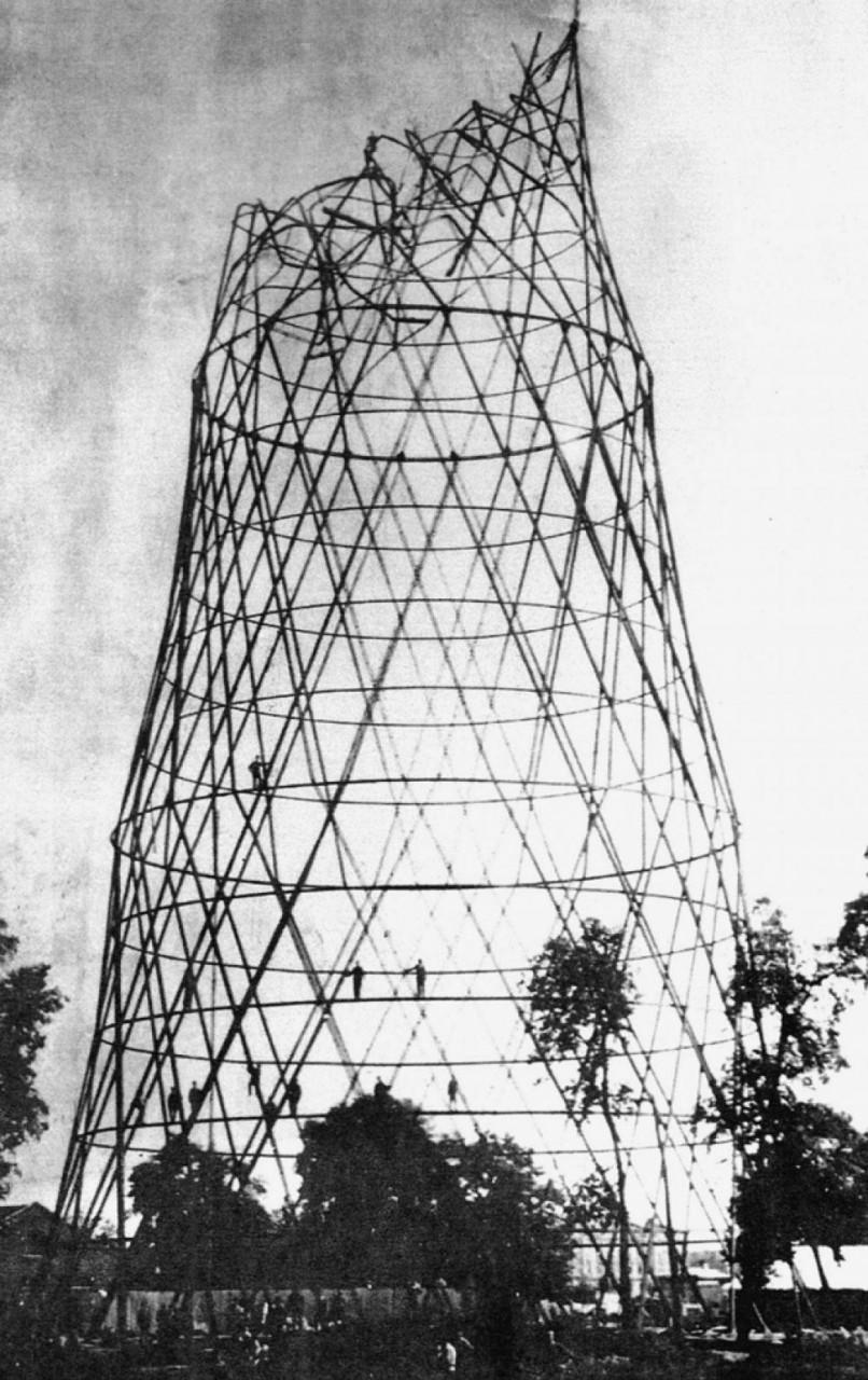Разрушение третьей секции при строительстве Шаболовской башни