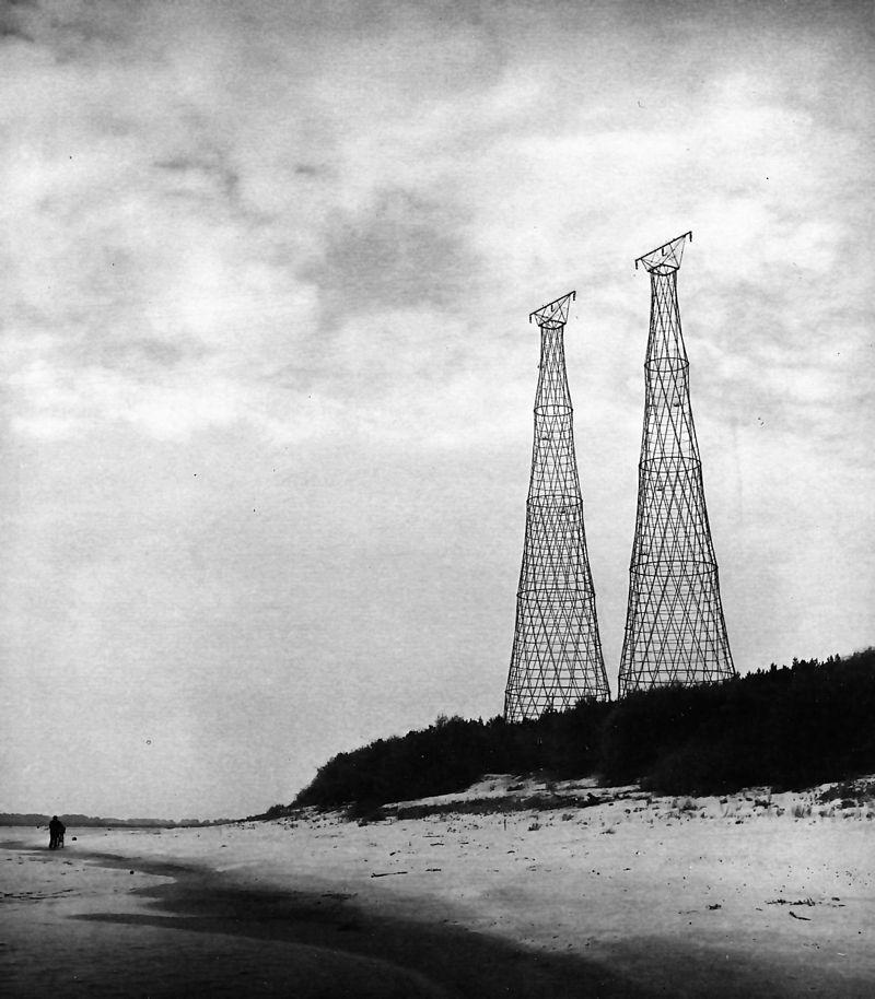 Две башни Шухова на Оке, фото 1988 года