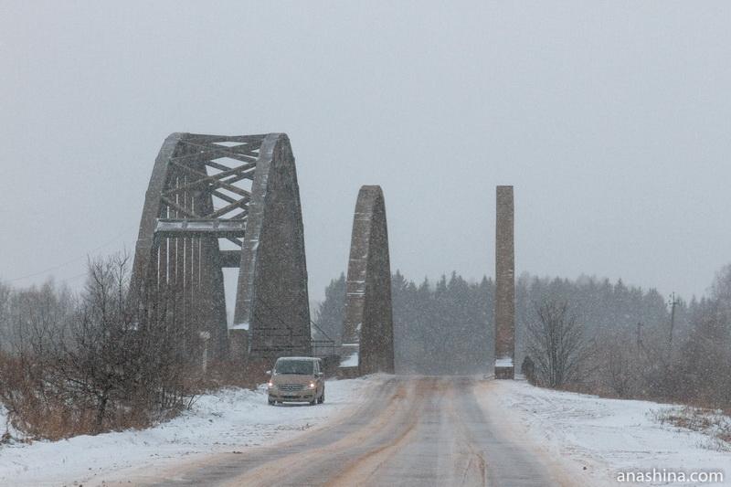 Автомобильный и железнодорожный мосты через реку Жабню