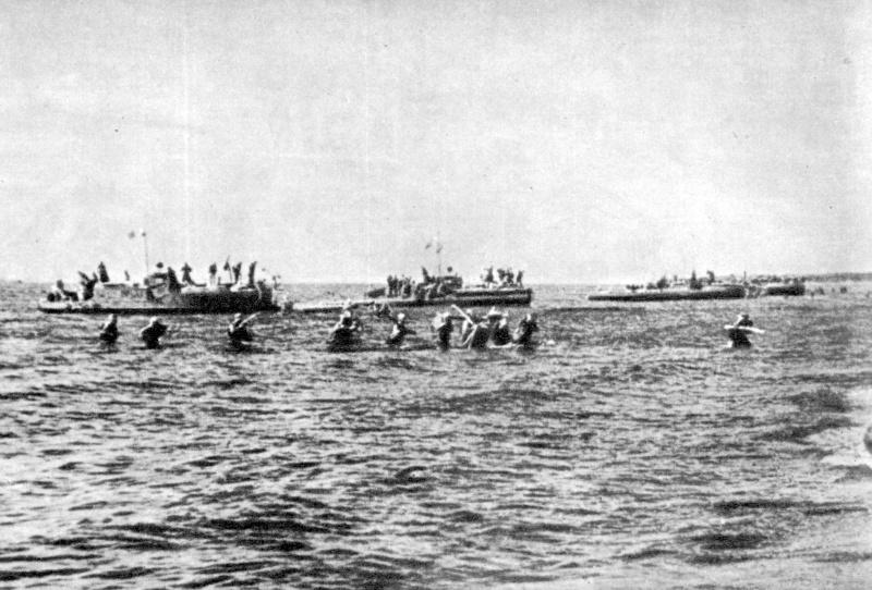 Высадка десанта морской пехоты силами Ладожской военной флотилии близ Видлицы, июнь 1944 года