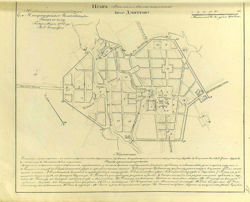 «Прожектированный» план города Дмитрова 1784 года