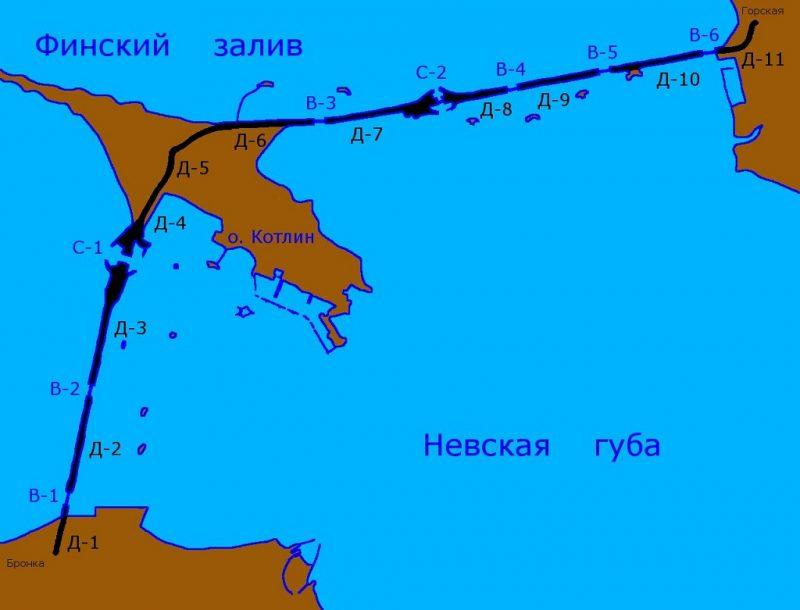Схема комплекса защитных сооружений Санкт-Петербурга от наводнений