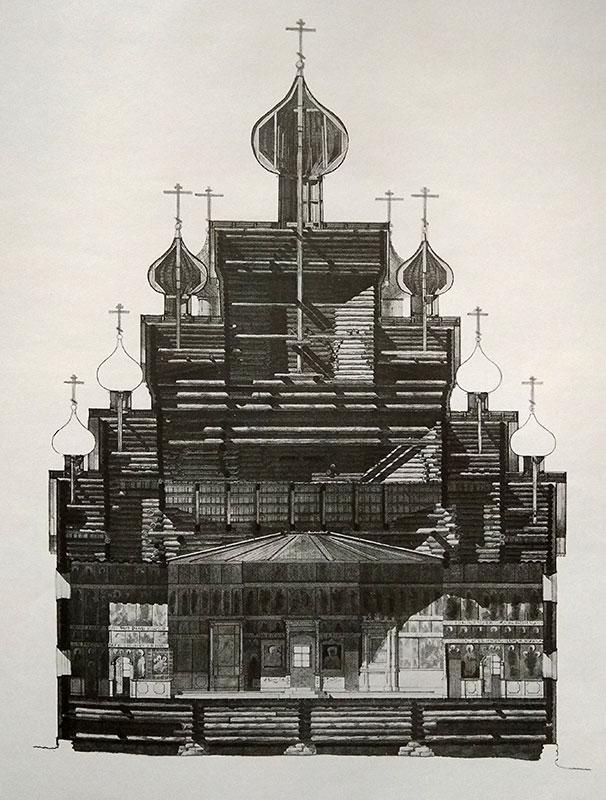 Покровская церковь близ Вытегры. Продольный разрез