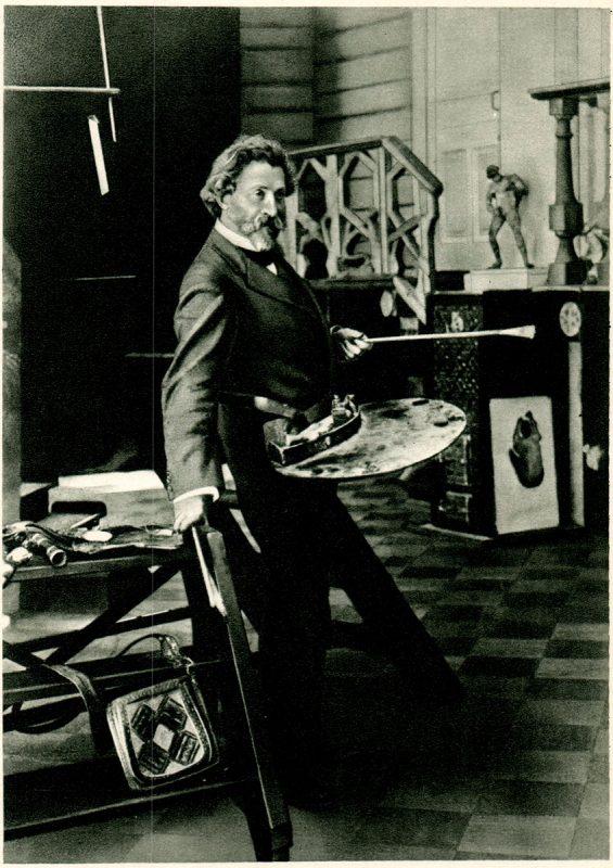 """И.Е.Репин в своей мастерской в """"Пенатах"""". 1910 год"""