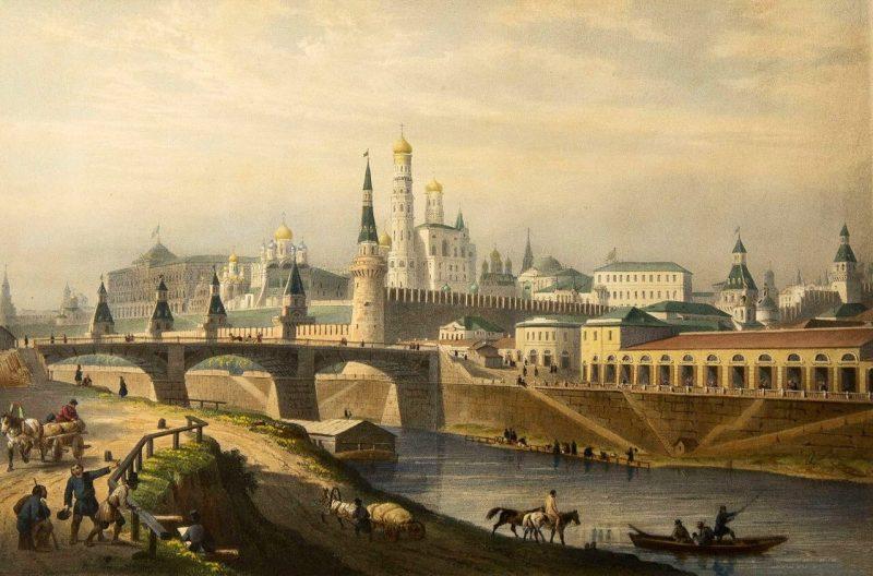 Луи Пьер-Альфонс Бишебуа. Общий вид Кремля, 1847 г.