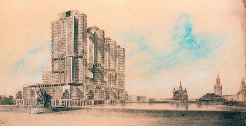 Конкурсный проект братьев Весниных здания Наркомтяжпрома на Красной площади