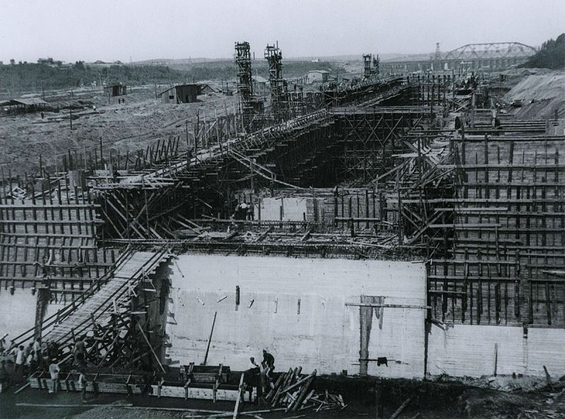 Шлюз №4 канала Москва-Волга в районе Деденево, 1935 год