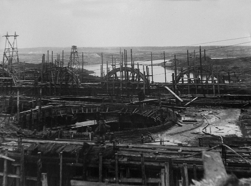 Строительство опалубки Иваньковской ГЭС, 1936 год