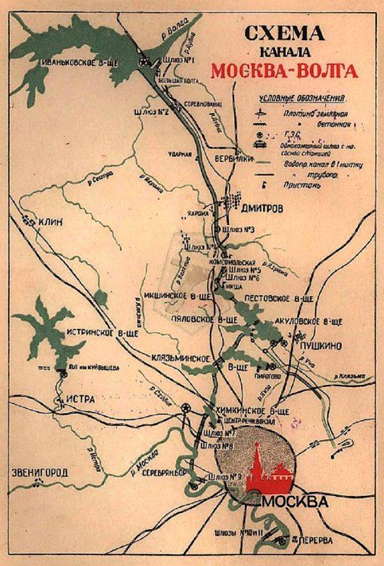 Схема канала Москва-Волга