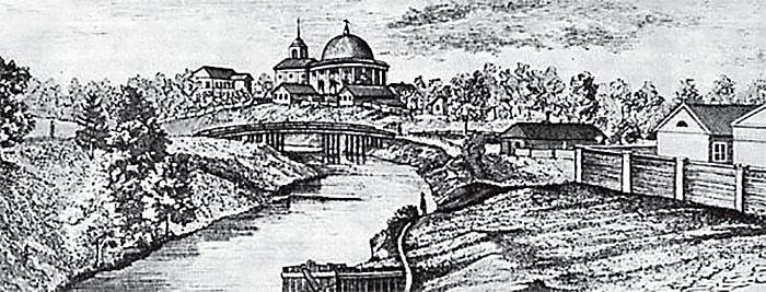 Пороховые. Вид на церковь Ильи Пророка с правого берега реки Луппы (Лу бьи). С гравюры 1858 г.