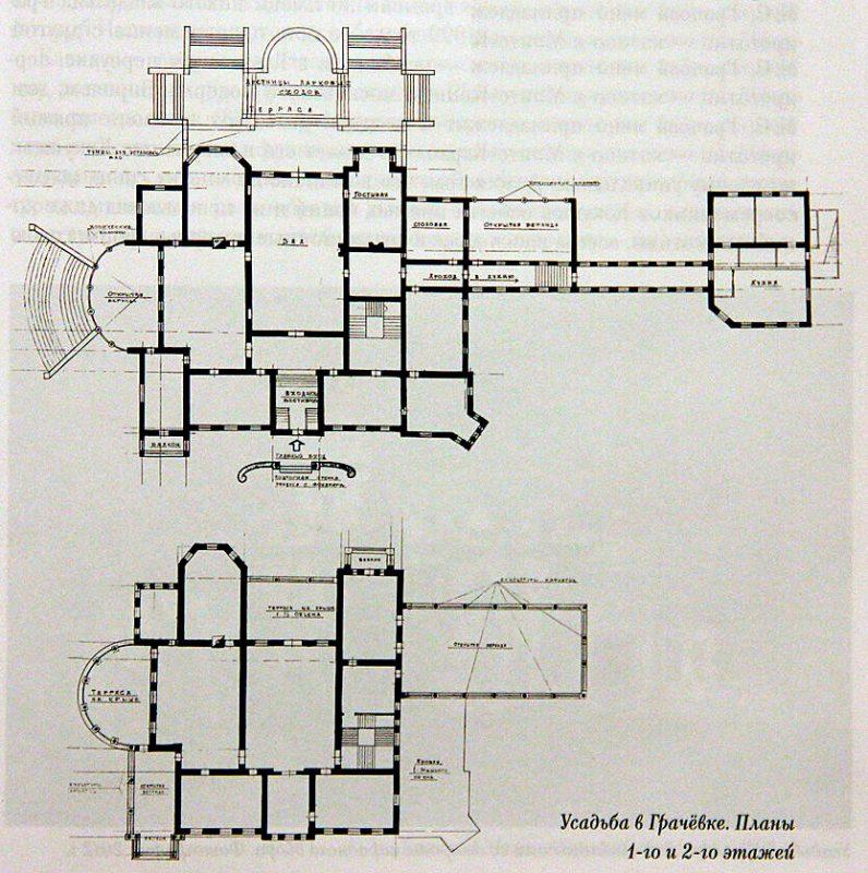 Усадьба Грачёвка. Планы первого и второго этажей