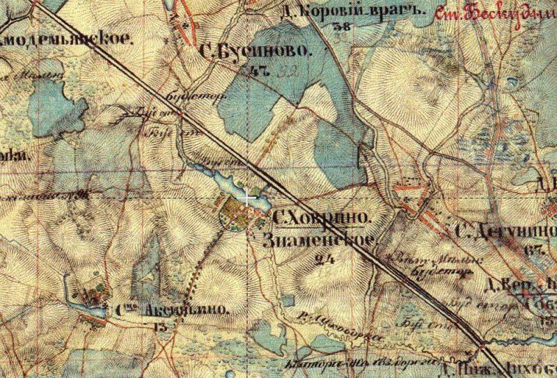 Усадьба Ховрино на карте Шуберта, 1852 год