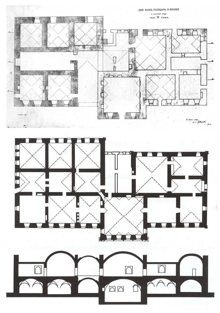 План первого, второго этажей и профиль палат Василия Голицына