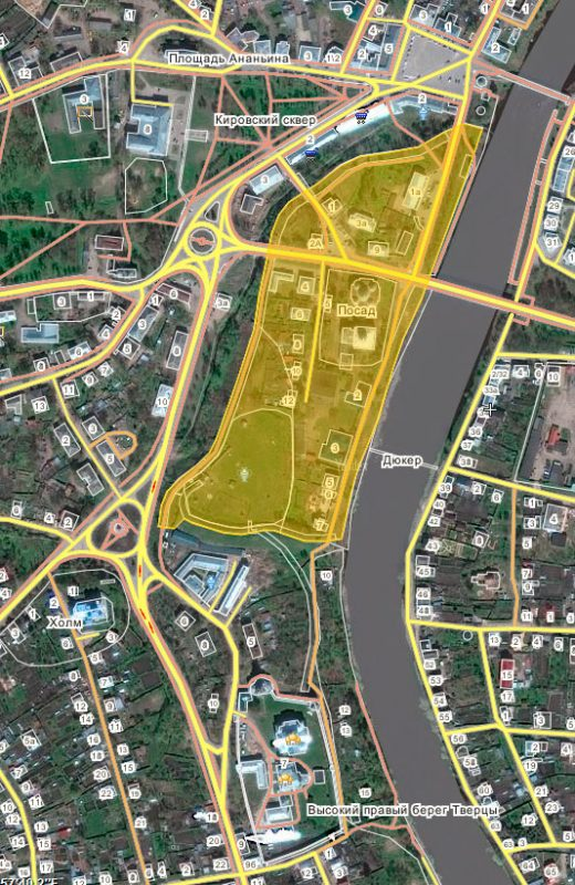 Территория Новторожского кремля. Источник: wikimapia.org