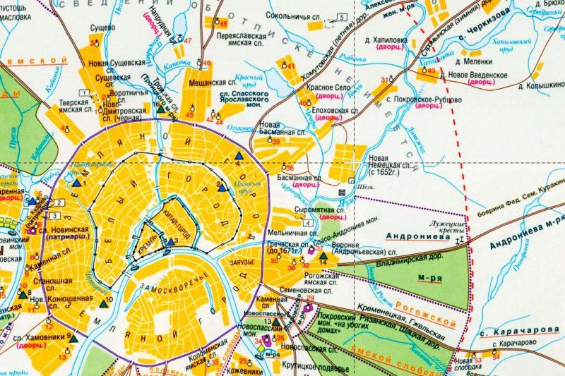 Карта Москвы и её окрестностей в XVII веке. Немецкая слобода отмечена крестом.
