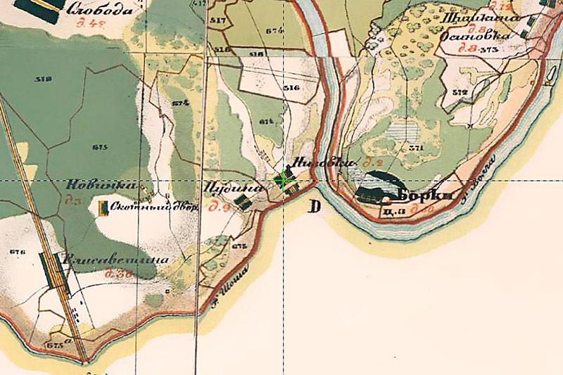 Деревня Низовка (Тверская губерния) на карте Менде, 1853 год
