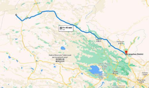 Расстояние на машине между Лянчжоу и заставой Юймэньгуань