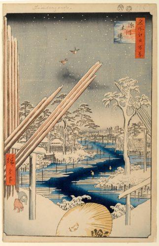 Утагава Хиросигэ. Сто знаменитых видов Эдо. Зима. Фукагава, склад лесоматериалов.
