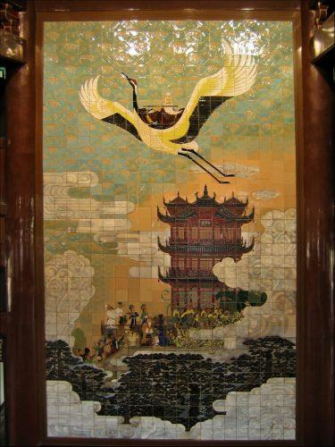 Желтый журавль, панно в башне Хуанхэлоу