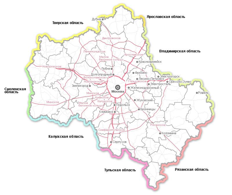 Карта дорог Московской области