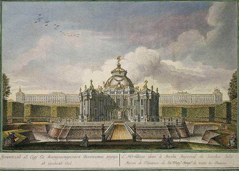 Павильон Эрмитаж в Царском Селе, гравюра А.А.Грекова