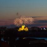 Вечер в Нижнем Новгороде; праздничный салют