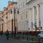 Верхне-Волжская набережная в Нижнем Новгороде на закате