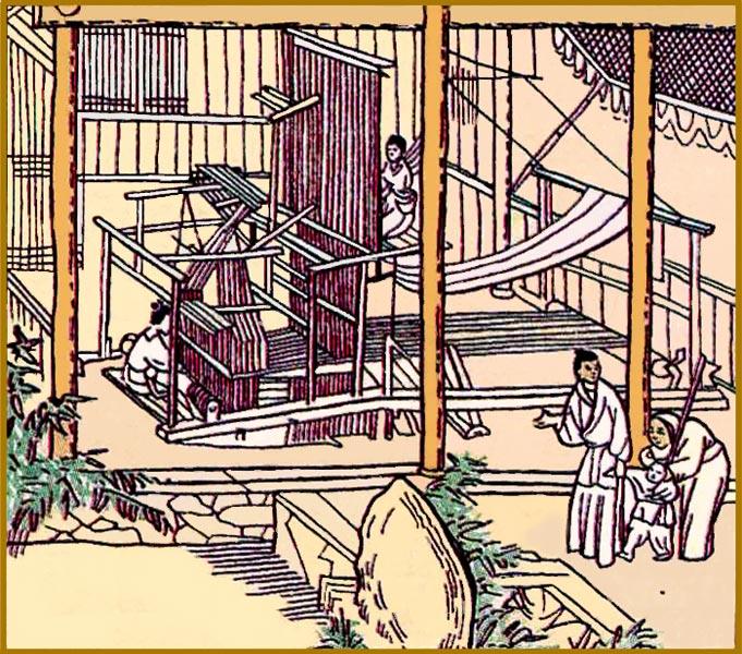 Китайский шелк, ткацкий станок